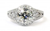 18K White Gold Diamond Halo Ring with Tapered Shank