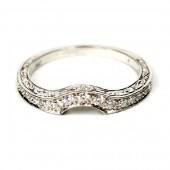 Contoured Platinum Ladies Diamond Wedding Ring