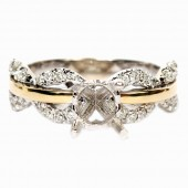 14K White and Yellow Gold Open Motif Semi-Mount Engagement Ring