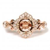 14K Rose Gold Diamond Semi-Mount Engagement Ring