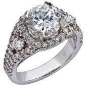 14K White Gold Halo Diamond Semi-Mount Engagement Ring
