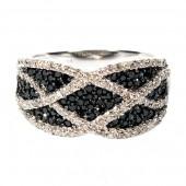 14K Pave  Black and White Diamond Latticework Ring