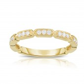 14K Yellow Gold Vintage Style Diamond Stackable Band