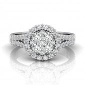 18K White Gold 1.16 CTW Forevermark Diamond Cluster Ring