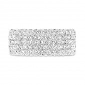 14K White Gold Wide Pave Diamond Band