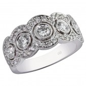 14K White Gold Multi Diamond Halo Band