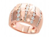 14K Rose Gold Wide Abstract Vertical Channel Diamond Band