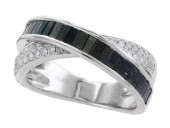 14K White Gold Black and White Diamond Criss Cross Ring