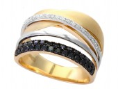 14K Yellow and White Gold Multi Crosover Diamond Band