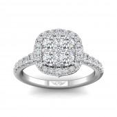 18K White Gold 1.25 CTW Forevermark Diamond Cluster Ring