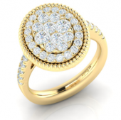 14K Yellow Gold 0.99 CTW Diamond Cluster Ring