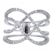 18K White Gold 0.65 CTW Diamond Freeform Ring