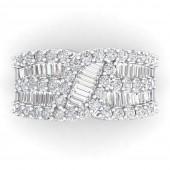 14K White Gold 2.20 CTW Diamond Ribbon RIng