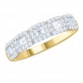 14K  White Gold Baguette Cut Diamond Band with Diamond Halos