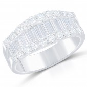 14K White Gold Baguette and Round Diamond Band