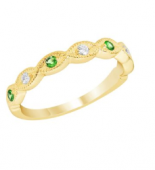 14K Yellow Gold Tsavorite and Diamond Stackable Band