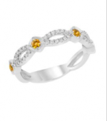 14K White Gold Citrine and Diamond Stackable Band