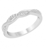 14K White Gold Diamond Infinity Stackable Band