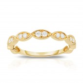 14K Yellow Gold Diamond Stackable Band with Oval Shapes