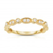 14K Yellow Gold Diamond Stackable Band with Alternating Marquis and Round Shapes