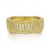 14K YELLOG GOLD TWISTED ROPE CAGE RING