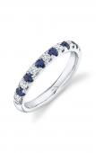 14K White Gold 0.30 CTW Diamond 0.30 CTW Sapphire Ring