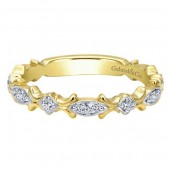 14K YELLOW GOLD .14CTW DIAMOND FLORAL STACKABLE BAND