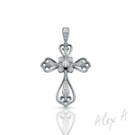 18K White Gold Filigree Diamond Cross Necklace
