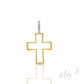 14K Yellow Gold Cross Outline Pendant with Diamond Accent