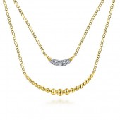 14K Yellow Gold Crescent Bar Layered Necklace