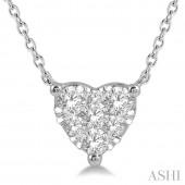 14K White Gold 0.25 CTW Diamond Heart Pendant
