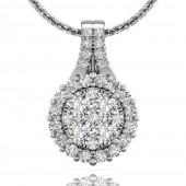 18K White Gold 0.93 CTW Forevermark Diamond Cluster Pendant
