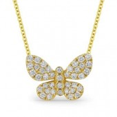 14K Yellow Diamond Butterfly Pendant