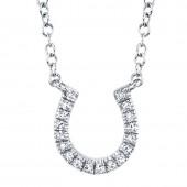 14K White Gold 0.06 CTW Diamond Horseshoe Necklace