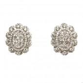 18K White Gold Oval Shaped  Diamond Cluster Stud Earrings