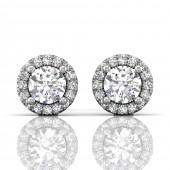Martin Flyer 18K White Gold Forevermark Diamond Halo Earrings