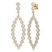 14K Yellow Gold Open Design Diamond Drop Earrings