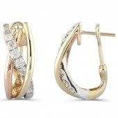 14K Gold Diamond J Hoop Earrings
