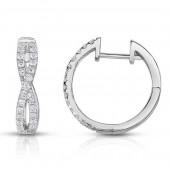 14K White Gold 0.50 CTW Diamond Hoop Earrings