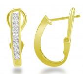 14K Yellow Gold Channel Set Diamond Hoop Earrings