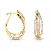 14K Yellow Gold 0.76 CTW Diamond Hoop Earring