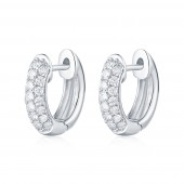 14K White Gold 0.72 CTE Diamond Hoop Earrings