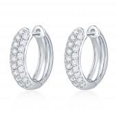 14K White Gold 1.01 CTW Diamond Hoop Earrings