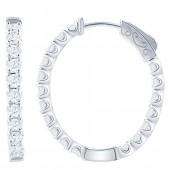 14K White Gold 0.98 CTW Diamond Oval Hoop Earrings