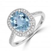 18K White Gold Oval Aquamarine Ring with Diamond Halo