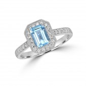 14K White Gold Emerald Cut Aquamarine with Diamond Halo Ring