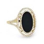 14KY .30CTW Diamond and Black Onyx Ring