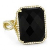 14KY .35CTW Diamond and Black Onyx Ring