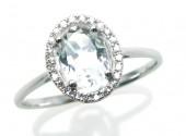 14K White Gold 0.08 CTW Diamond 0.84 CT White Topaz Ring