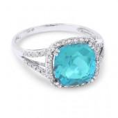 14K White Gold 0.17 CTW Diamond 4.10 CT Blue Topaz Ring